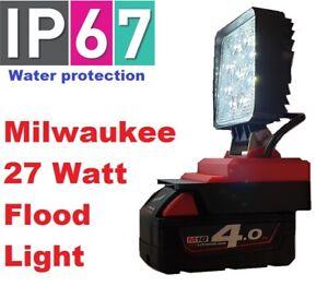 Milwaukee 18v LED work light with 27 watts of power and 180 adjustable angle