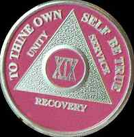 Pink & Silver Plated 19 Year AA Chip Alcoholics Anonymous Medallion Coin