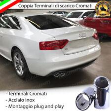 COPPIA TERMINALE SCARICO CROMATO LUCIDO ACCAIO INOX AUDI A5 SPORTBACK + CABRIO
