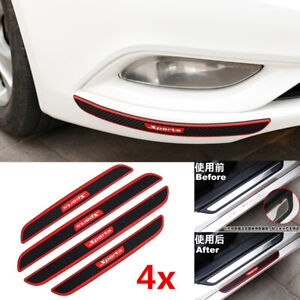4x Rubber Front+Rear Bumper Scratch Protector Strip Corner Guard Sticker Carbon