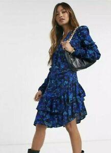 BNWT River Island Floral Print Ruffle Hem Dress Blue Multi Size UK 10 RRP £45