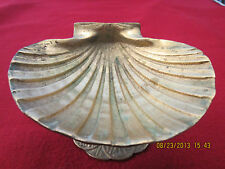 "NAUTICAL, BRASS ""CLAM SHELL DISH"" ON PEDESTAL"