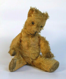 Antique Teddy Bear jointed straw filled with hump velvet paws non working growl
