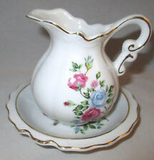 Creamer and Saucer Milk pourer Floral Bouquet Made in Japan
