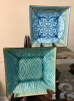 """SET OF 2 Roscher LORELEI Blue Green Moroccan Embossed Square SALAD Plates 8"""""""