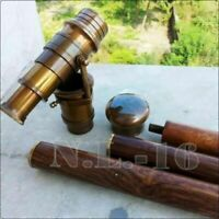 Vintage Brass Telescope Handle Wooden Walking Stick Cane Spyglass Antique Scope
