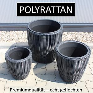 3er SET Geflecht Pflanzenkübel + Einsatz rund Blumentopf groß Übertopf grau