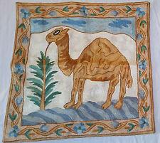 "SILK Camel Landscape 16"" ARI Crewel Chain-Stitch Embroidery Pillow-Case LT Face"