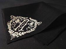 "#5787🌟Antique 30s Frnch BLACK &White Monogram ""A"" Wedding Mourning Handkerchief"