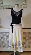 Monsoon Cream & Black Embellished Wedding Occasions Flippy Skirt Size 10