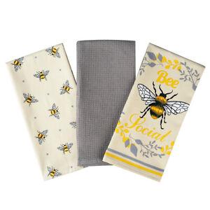 Bumble Bees Tea Towels X3 100% Cotton Decorative Kitchen Cooking Dish Linen BBQ