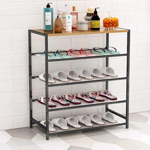5 Layers Shoe Rack Storage Shelf Organizer Footwear Metal Mesh Shelves Stand UK