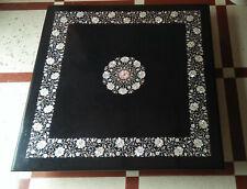 4' black marble table top dining coffee inlay random lapis fancy item D102