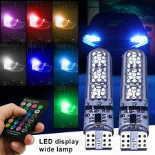 2x LED T10 W5W 501 RGB de color cambiante Bombilla Lateral Cuña de Coche + Control Remoto