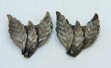 Pair Vintage Antique Women's Sterling Silver Leaf Shoe Buckles Clip Pins