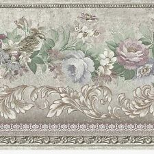 Victorian Flowers - Satin Silver Mauve - ONLY $9 - Wallpaper Border A169