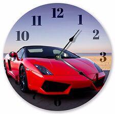 """10.5"""" HOT RED LAMBORGHINI CLOCK - Large 10.5"""" Wall Clock - Home Décor Clock 3185"""