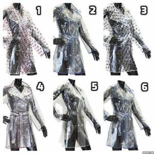 Ladies Girls Transparent Clear Fashion Festival PVC Raincoat Coat Jacket Mac