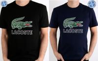 Men's Lacoste Big Croc Printed Logo Crew Neck T-Shirt Black and Navy