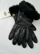 New UGG Australia Women's BLACK LEATHER GLOVES Wool Blend Lined S