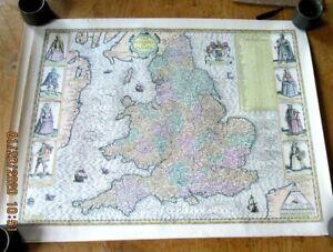 Vintage Reproduction John Speed Maps England Scotland Wales Ireland 17X 22 Inch