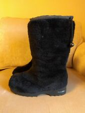 Vtg Sporto yeti faux fur apres ski boots black insulated 7.5 snow winter chic