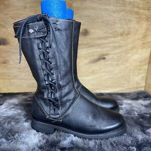 HARLEY-DAVIDSON MELIA Women's Black Leather Motorcycle Boots D85054 Size: 9