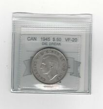 **1945 Die Break**, Coin Mart Graded Canadian,  50 Cent, **VF-20**