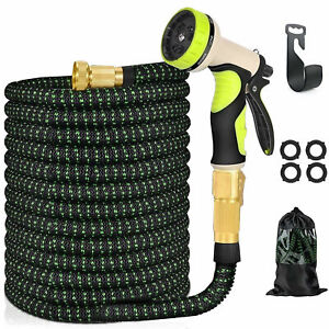 "100 Ft Expandable Garden Water Hose 9 Pattern Spay Nozzle 3/4"" Brass Fitting"