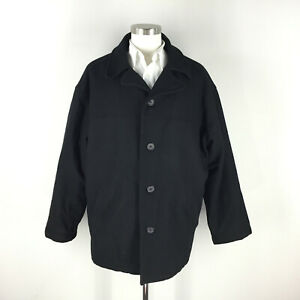 Pierre Cardin Men's L Black Wool Winter Coat Over Coat quilted lining