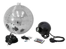 Eurolite Spiegelkugel Spiegel Disco Kugel Set 30cm LED RGB Spot IR Fernbedienung