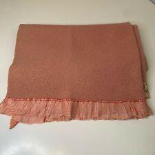 New listing vintage wool blanket color pink maroon ruffed nylon satin edging 34x46