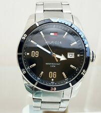 TOMMY HILFIGER Mens Watch Black & Stainless steel DATE RRP £189 (TH2