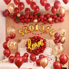 100Pcs Ruby Red Latex Balloons 10 in Wedding Balloon Valentine's Day Party Decor