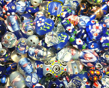Bead oddment-HAND MADE Lampwork Perline in Vetro - 50gms-BELLISSIMA blues mix