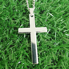 Simple Stainless Steel Silver Cross Pendant Necklace for Men Women Chain 20""