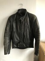 FURYGAN BLACK LEATHER BIKER JACKET  ELBOW/SHOULDER PROTECTOR / QUILTED LINING M