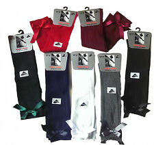 3 Girls Knee High Girls School Socks With Satin Bow all Size
