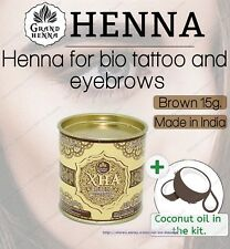New Grand Viva  Henna for eyebrows and body bio tatoo Brown 15g + coconut oil!!!
