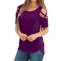 Mujer Casual camisa manga corta blusa HOMBROS DESCUBIERTOS Holgado camiseta
