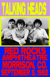 TALKING HEADS REPLICA *RED ROCKS* 1982 CONCERT POSTER