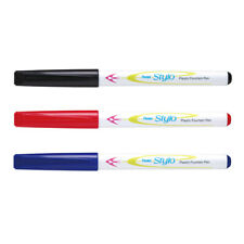 Pentel Stylo Plastic Fountain Pen JM11 Black, Blue & Red Colours