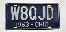 Vintage 1963 Original OHIO Amateur Radio License Plate W8QJD
