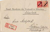 Briefumschlag Einschreiben verschickt von München nach Husum 1928 Dienstmarken