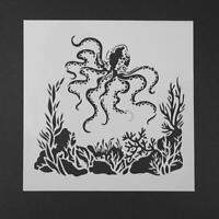 Octopus Coffee Spray Printing Mold DIY Cake Embossed Decor Baking Stencil   hv2n
