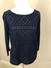 Women's J CREW Navy Eyelet Front 3/4 Length Sleeve top - Size Small