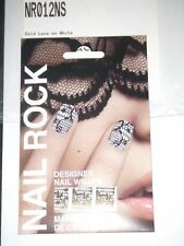 NAIL ROCK Designer Nail Wraps - NR012NS - Gold Lace on White - Made in UK - NEW