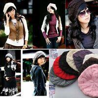 Chic Warm Winter Women Beret Braided Baggy Knit Crochet Beanie Hat Ski Cap Hot