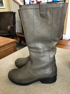 KEEN Womens Gray Leather Side Zip Calf High Knee Boots Size 11 Calf Stretch