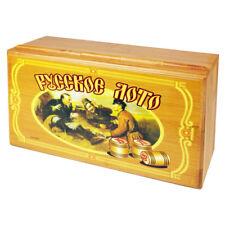 Russisches Lotto (Loto) Spielset im BAMBUS Holzkasten mit Holzfiguren Bingospiel